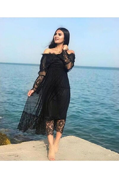 Senclub 0546 Siyah Madonna Yaka Güpür Dantel Elbise