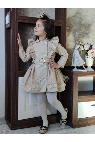modavals Kız Çocuk Bej Trençkot Elbise