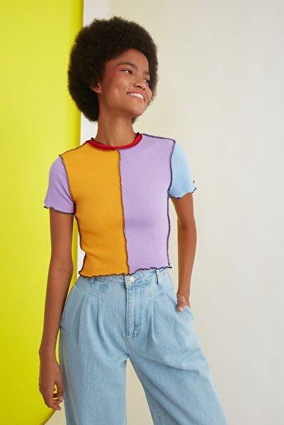 TRENDYOLMİLLA Çok Renkli Renk Bloklu Fitilli Örme Bluz TWOSS21BZ1187