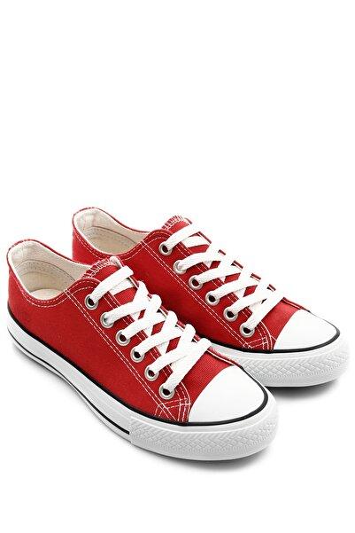 GÖN Kırmızı Keten Kadın Günlük Spor Düz Taban Sneaker 35222