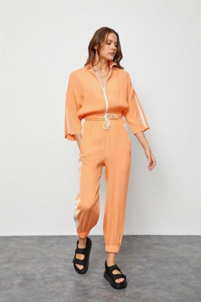 Setre Kadın Turuncu Oranj Fermuarlı Sweatshirt Jogger Eşofman Takım