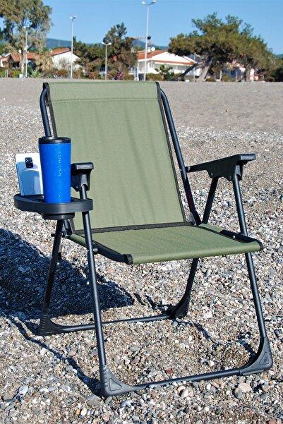 moniev Yeşil Katlanır Kamp Piknik Sandalyesi Plaj Koltuğu Katlanır Şezlong Ve Bardaklık