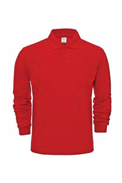 Unısex Kırmızı Polo Yaka Uzun Kol T-shırt