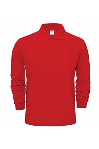 nacar çarşı Unısex Kırmızı Polo Yaka Uzun Kol T-shırt