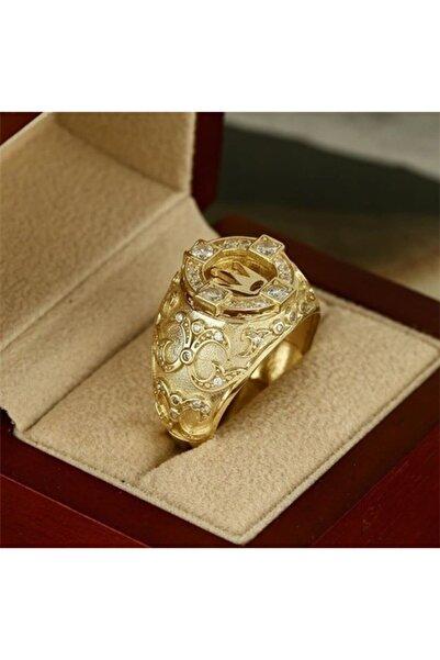 EREN Erkekler Için Emitasyon Altın Yüzük Klasik Takı Taç Modeli Doğal Beyaz Safir Ve Pırlanta Yüzük