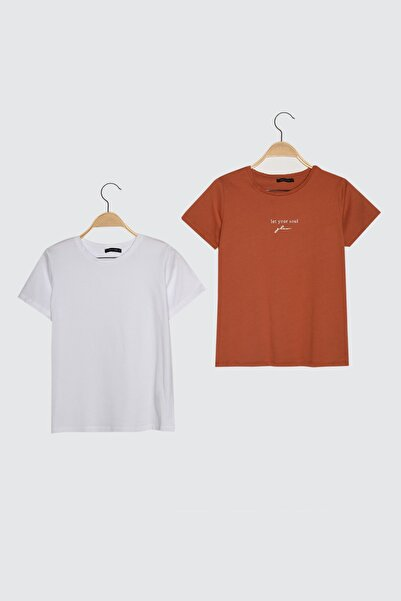 TRENDYOLMİLLA Kiremit-Beyaz 2'li Paket Basic Bisiklet Yaka Örme T-Shirt TWOSS21TS0403