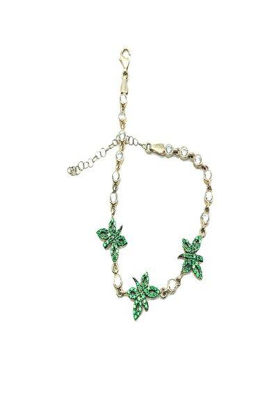 Afrodit Silver Kadın 925 Ayar Gümüş Yeşil Kelebek Modeli Zirkon Taşlı Su Yolu Bileklik