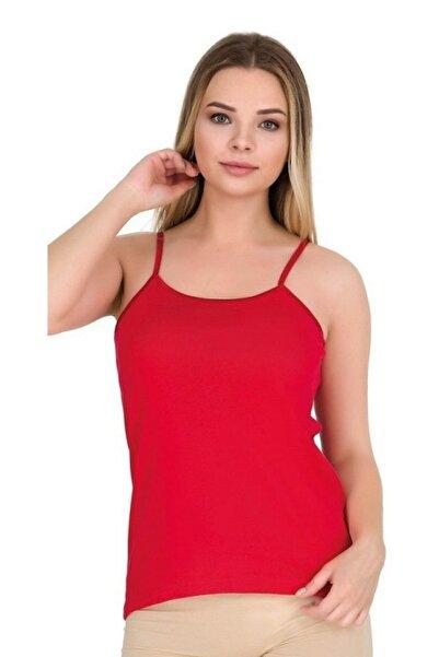 Berrak Ip Askılı Biyeli Ribana Kadın Atlet   Pamuklu Kırmızı