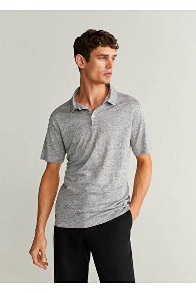 MANGO Man Erkek Gri Keten Polo Tişört