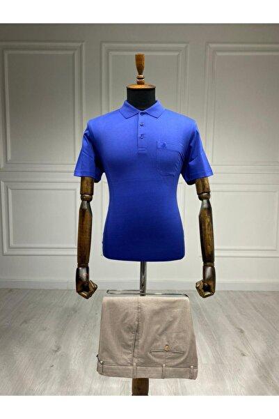 Sarar Polo Yaka Saks Mavi T-shirt