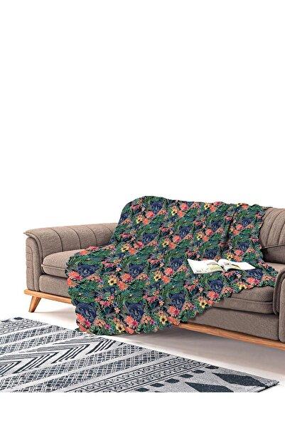 Realhomes Lacivert Zeminli Leopar Özel Tasarım Modern Şönil Koltuk Şalı