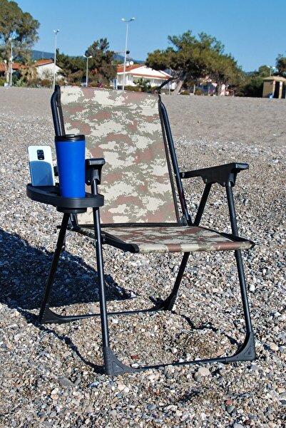 moniev Kamuflaj Katlanır Kamp Piknik Sandalyesi Plaj Koltuğu Katlanır Şezlong Ve Bardaklık