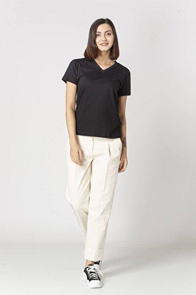 Eleventy Kadın Siyah V-yaka Basıc Tişört