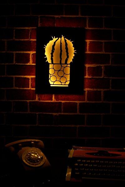 zürafa tasarım Top Kaktüs Işıklı 3 Boyutlu Lazer Kesim Siyah Beyaz Dekoratif Mdf Tablo