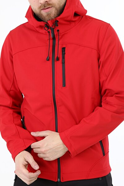 GHASSY CO. Erkek Kırmızı Su Rüzgar Geçirmez Softshell Spor Mont
