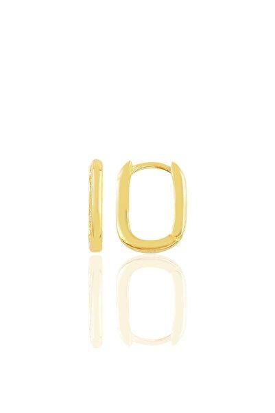 Söğütlü Silver Gümüş Altın Yaldızlı Sade U Modeli Kupe