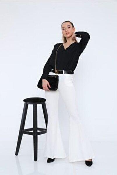Kadın Pantolon Double Ispanyol Paça Genişliği 40 Cm'dir.