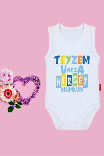 Lullaby Unisex Bebek Krem Teyzem Varsa Her Şey Mümkün Yazılı Çıtçıtlı Baby Zıbın