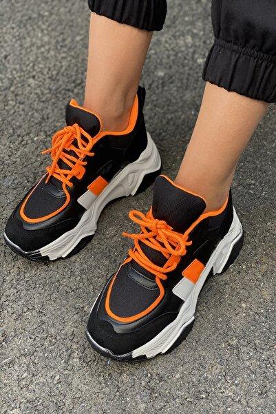 İnan Ayakkabı Kadın Siyah Yüksek Taban Sneaker