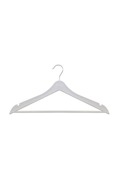 Tedarikcenter 24 Adet Elbise Askısı Ahşap Görünümlü Plastik - Beyaz