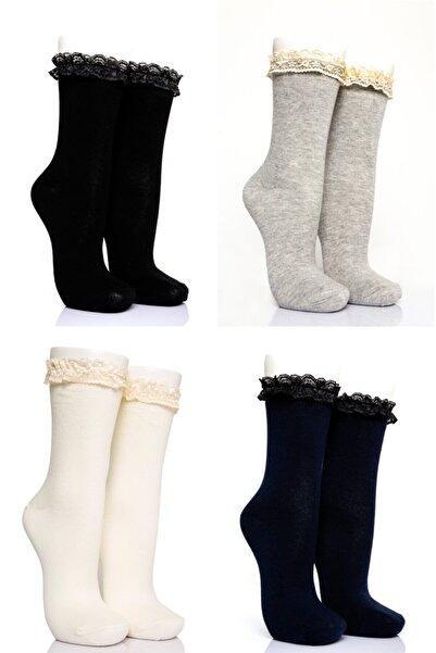 Pamela Kadın Dantelli 4'lü Soket Çorabı