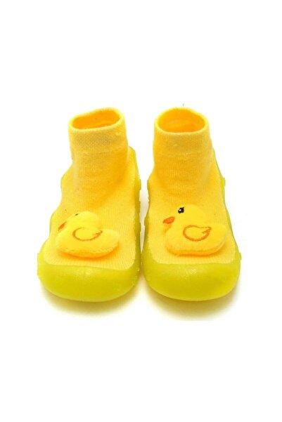 First Step Sarı 3 Boyutlu Civciv Figürlü Altı Kaymaz Silikon Çocuk Panduf Ayakkabı C-26-1