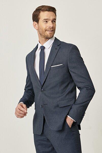 ALTINYILDIZ CLASSICS Erkek Lacivert-Mavi Slim Fit Dar Kesim Su Geçirmez Nano Takım Elbise