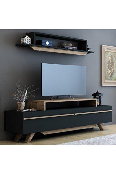 BMdekor Tv Ünitesi Harmony Antrasit Ceviz 150 cm