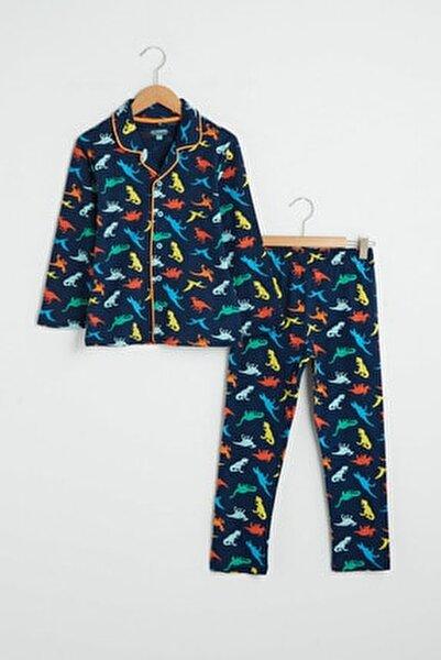 Erkek Çocuk Lacivert Baskılı Lsj Pijama Takımı