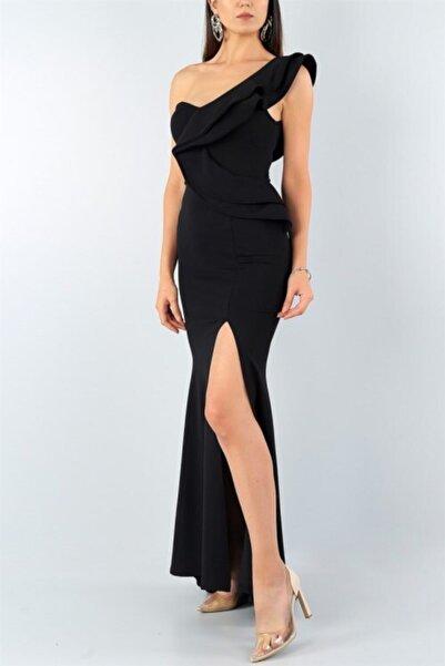 tknfashion Tek Omuz Detaylı Esnek Krep Kumaş Siyah Uzun Abiye Elbise Düğün Elbisesi 024