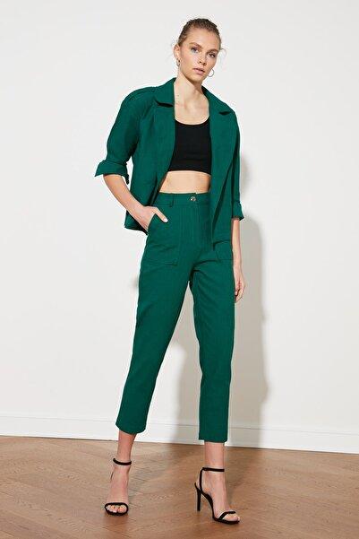 TRENDYOLMİLLA Zümrüt Yeşili Yüksek Bel Pantolon TWOSS21PL0265