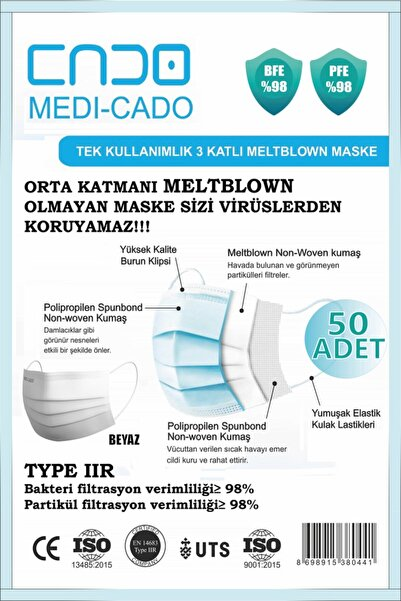 MEDİ-CADO Medicado Tip2r Meltblown Mikrofiber Ultrasonik 3 Katlı Ve Telli Cerrahi Maske 50'li X 1 (50 ADET)