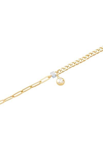 Diamond Line-Gülaylar Kadın Yeşil Altın 14 Ayar Zincir Bileklik
