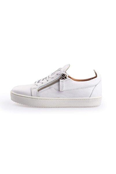 Flower Erkek Beyaz Deri Fermuar Detaylı  Sneakers