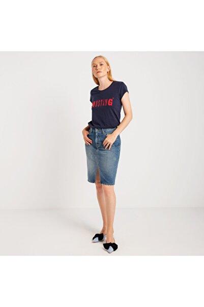 Mustang Kadın Basic Baskılı T-shirt Lacivert
