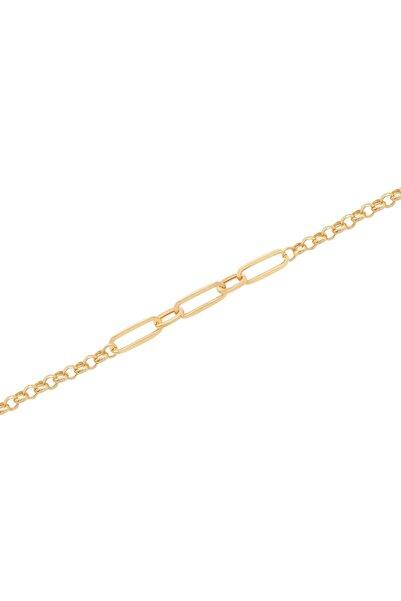 Diamond Line-Gülaylar Yeşil Altın 14 Ayar Trend Zincir Bileklik