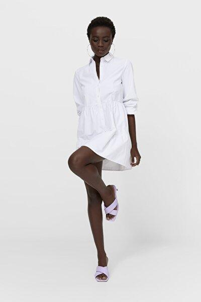 Stradivarius Kadın Beyaz Poplin Gömlek Elbise 02370502