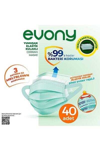 Evony Maske Elastik Kulaklı Tekli Paketlenmiş 40 Adet