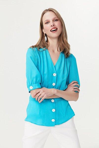 İpekyol Kadın Turkuaz Bluz