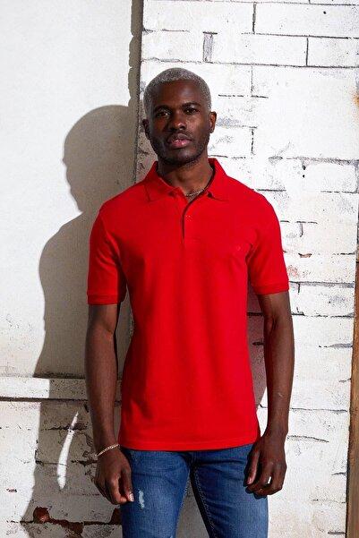 DENSMOOD Erkek Kırmızı Polo Yaka Düz Renk T-shirt
