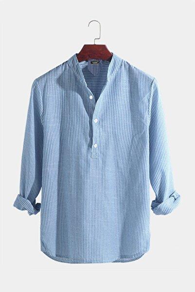 VEAVEN Erkek Hakim Yaka Uzun Kollu Çizgili Keten Gömlek Vavn301-0000003-1 Buz Mavisi