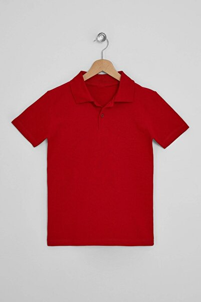 zepkids Erkek Çocuk Kırmızı Basic Polo Yaka T-shirt
