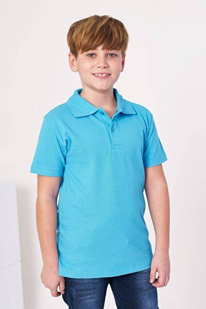 zepkids Erkek Çocuk Turkuaz Polo Yaka Basic Tshirt