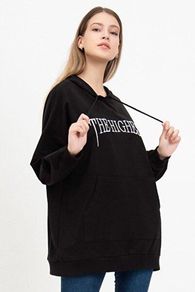 Mossta Kadın Siyah The Hıghest Baskılı Sweatshirt