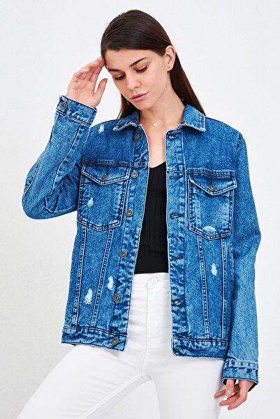 Mossta Kadın Mavi Taşlanmış Kot Ceket