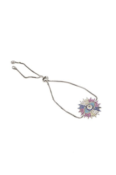 Marjin Kadın Gümüş Renkli Göz Tasarım Renkli Taşlı Asansörlü Bileklikgümüş