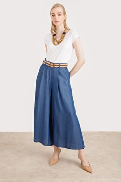 Kadın Lacivert Kemerli Etek Pantolon