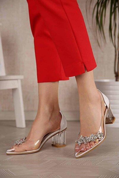 Ccway Kadın Şeffaf Taşlı Topuklu Ayakkabı