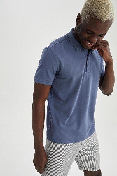 DeFacto Regular Fit Polo Yaka Basic Kısa Kollu Lacivert Tişört