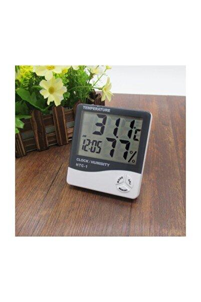 Techmaster Htc-1 Dijital Termometre Sıcaklık Ve Nem Ölçer Masa Saati Alarm
